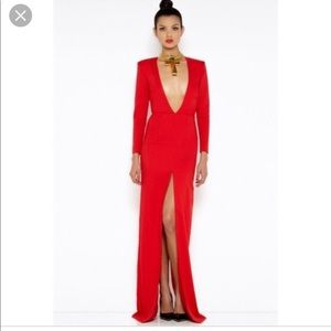 AQAQ Red dress with plunging neckline and split